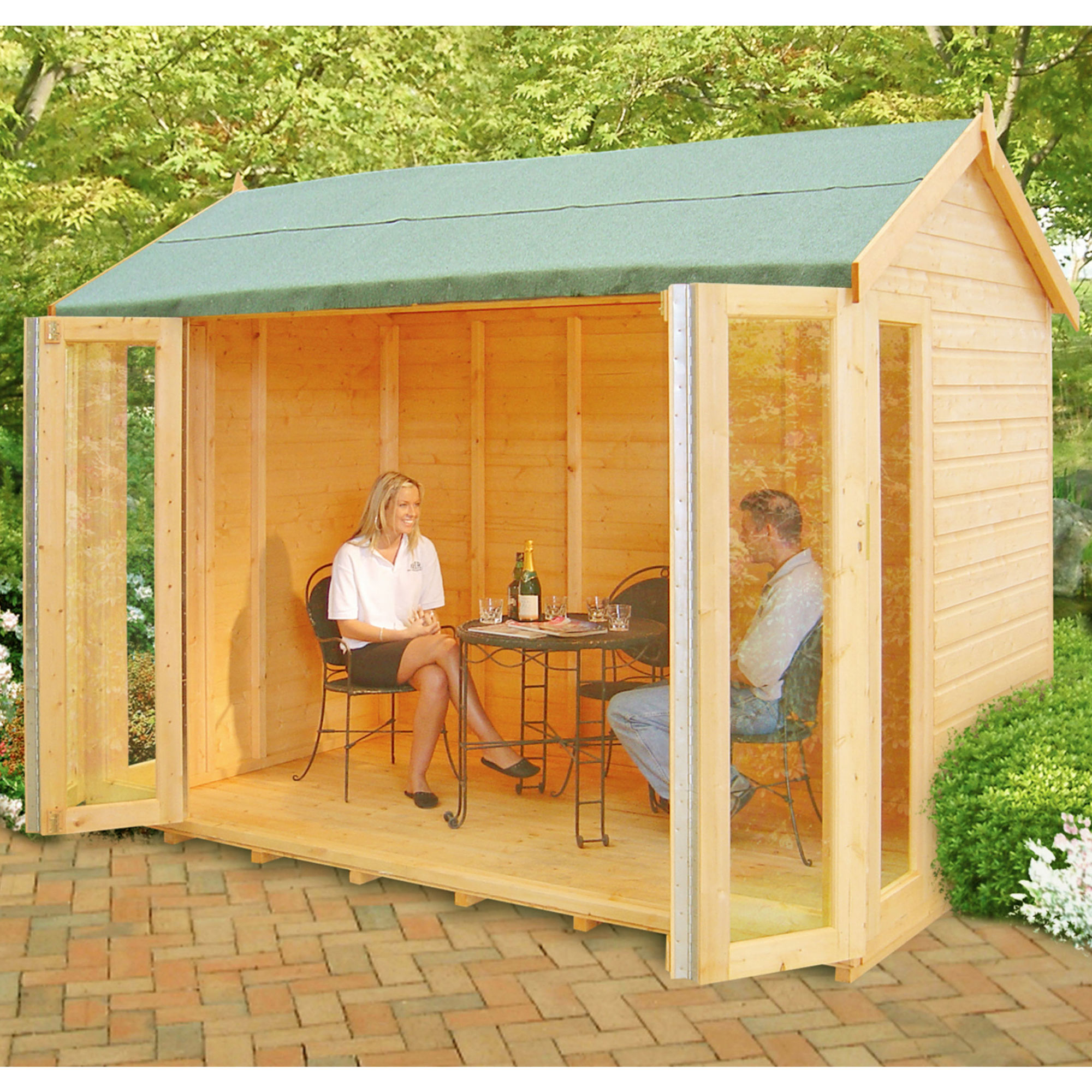 Image of 10'3 x 8'4 (3.1x2.5m) Shire Blenheim Wooden Summerhouse