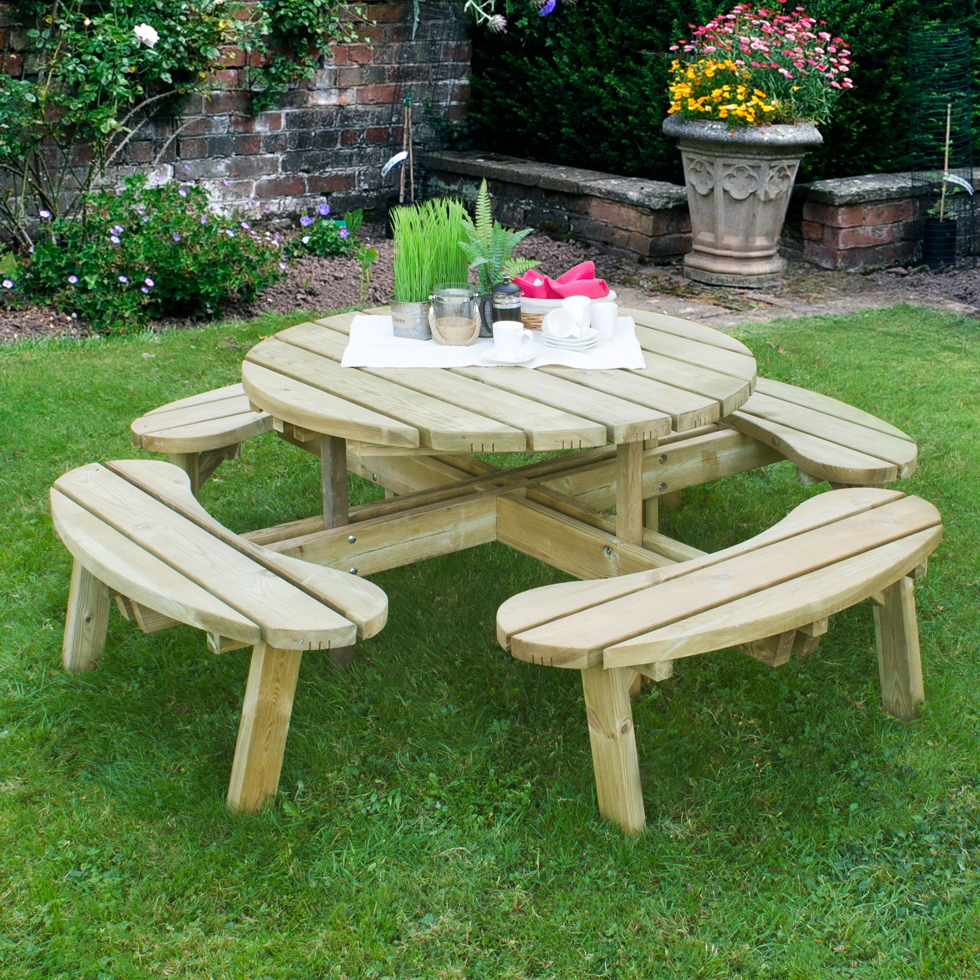 Image of 1.8m (6'x6') Forest Circular Picnic Table