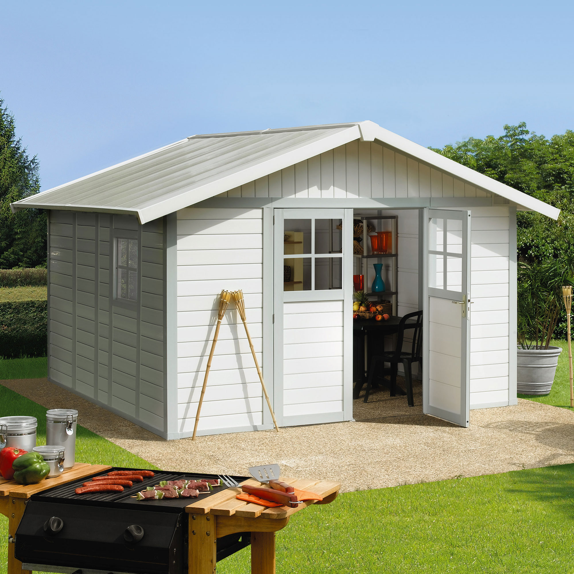 Image of 11'8 x 10'4 Grosfillex Deco 11 Plastic Garden Storage Shed (3.15m x 3.55m)