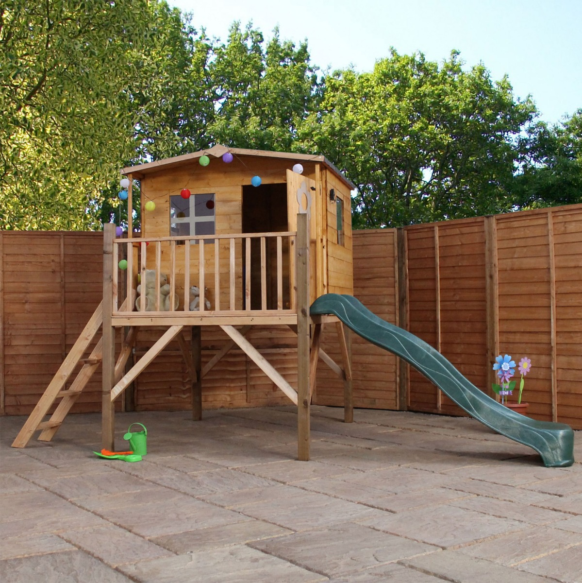 Image of 13' x 6' (3.9x1.8m) Windsor Rose Tower Childrens/ Kids Wooden Garden Playhouse and Slide