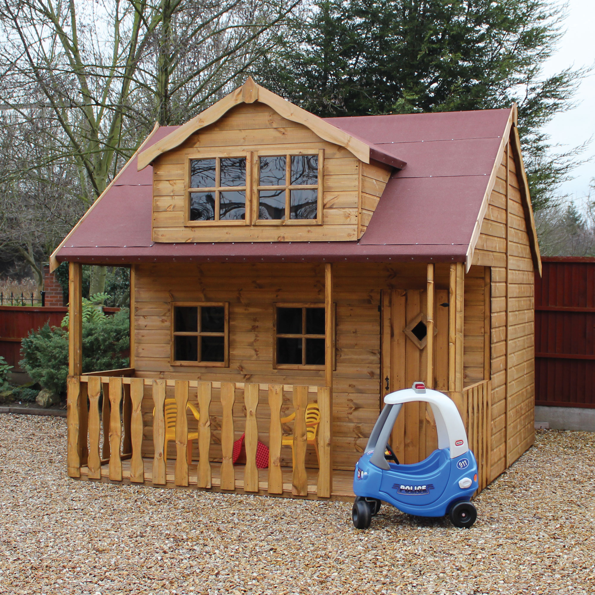 Image of 10' x 10' (3.05x3.05m)Traditional Swiss Cottage Childrens/ Kids Wooden Garden Playhouse