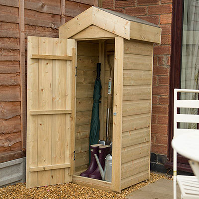 a tall, slim, wooden tool shed with an apex roof and open door