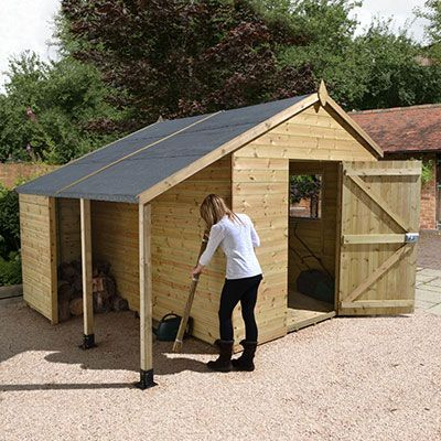 a 20x10 wooden workshop shed with an integral woodstore