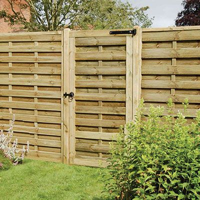 a modern garden gate and matching fence panels, all with horizontal slats and vertical battens