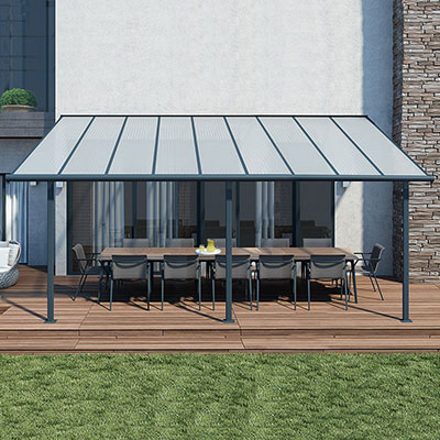 A 10x18 grey garden canopy covering a table and chairs, situated on a decked area.