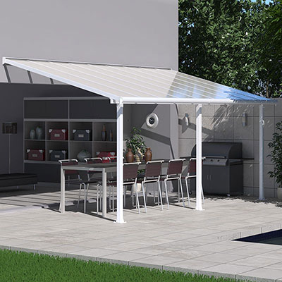 A 10x18 white patio cover providing shade to a table and chairs.