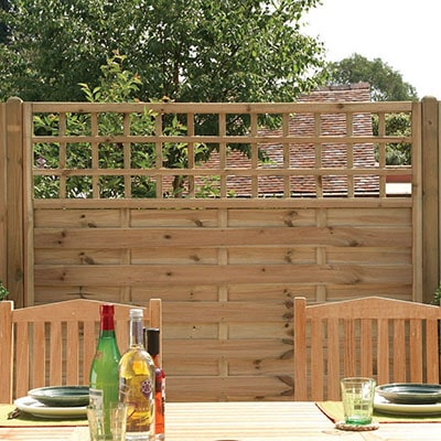Forest Garden 6x3 Europa Montreal Fence Panel with trellis topper