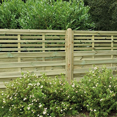 A 5'11x3'11 slatted fence panel with wider gaps on the top section