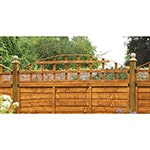 The Forest 6x1'5 Arch Trellis Fence Panel Topper, positioned on top of a wooden fence.