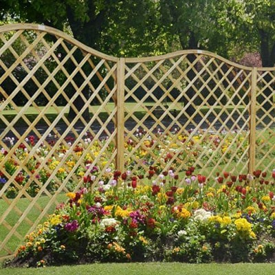 A run of diamond trellis fence panels with curved tops