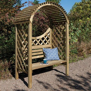 The Rowlinson Keswick Garden Arbour Seat 4x3, with a blue cushion and coffee mug on the seat.