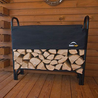 a black steel and fabric log rack