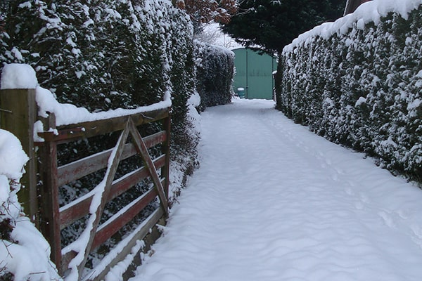a snow covered driveway with gate