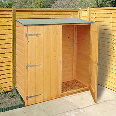 a 4x2 wooden garden storage shed with double doors, one of them ajar