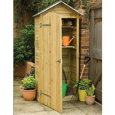 a tall, wooden tool shed with an open full-length door