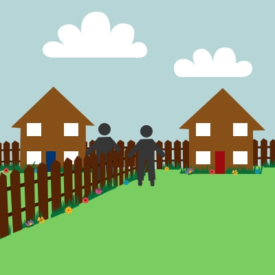cartoon image of neighbours shaking hands over fence