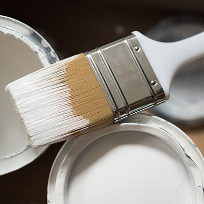 2 tins of white paint and a paintbrush