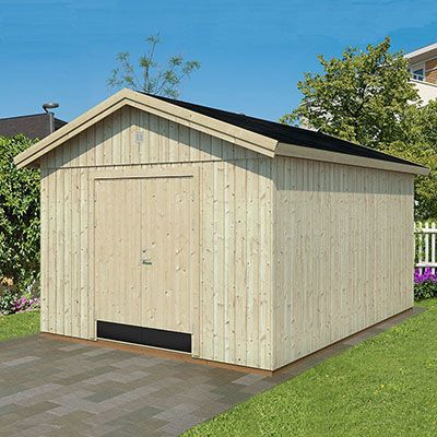 a large wooden shed with tongue and groove cladding and double doors