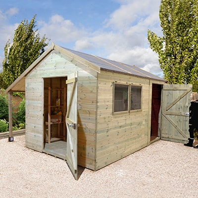 a wooden garden workshop with a log store, doors to the front and rear, and 2 fixed windows