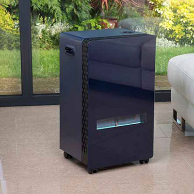 a black gas cabinet heater with a blue flame-effect display