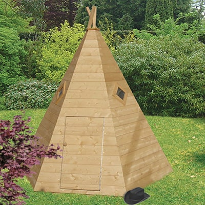 a wooden children's playhouse in the shape of a wigwam