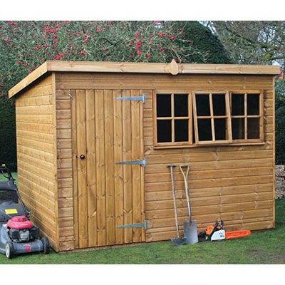 a wooden garden workshop with a single door and 3 framed windows, all on the wider side of the structure