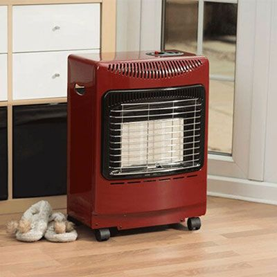 a small, red, portable summer house heater