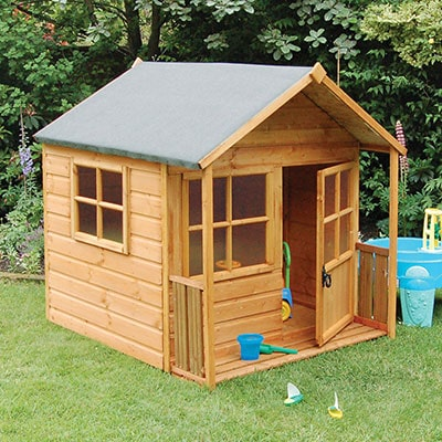 a wooden playhouse with a veranda, apex roof, 2 windows and a door