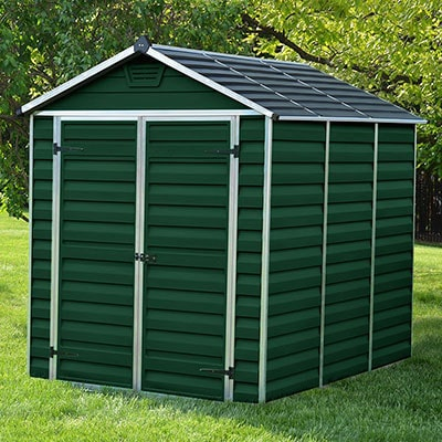 6x8 green plastic shed