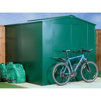 a green metal security shed, with a bike propped against the door