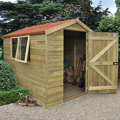 a wooden shed with tongue and groove cladding, 2 windows and an open door