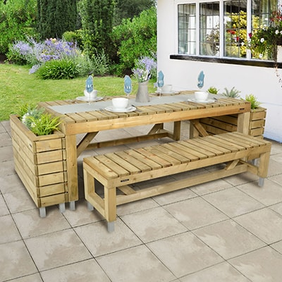 a wooden garden table, 2 matching benches and 2 wooden planters