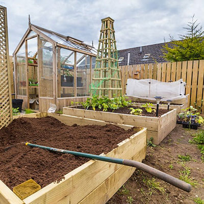3 large raised beds and trellis, forming part of a vegetable garden