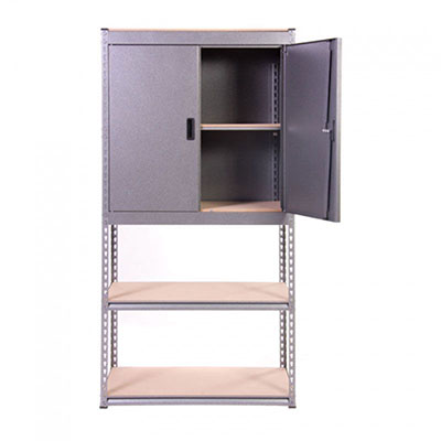 a steel storage unit consisting of a cupboard and shelves
