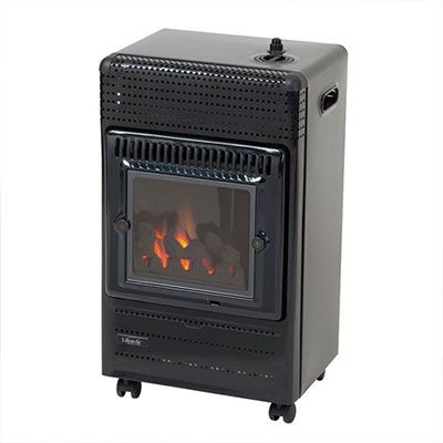 a black portable gas heater with a flame-effect display