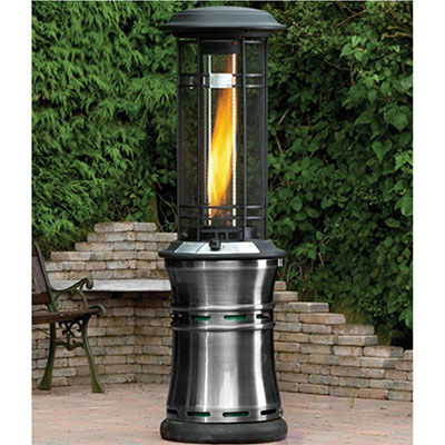 A large, cylindrical gas patio heater with a visible flame