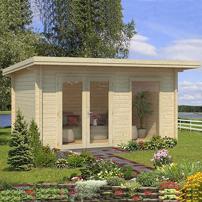 Small Palmako pent roof Log Cabin in a garden