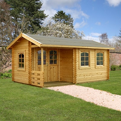 The Palmako Susanna traditional garden log cabin with covered porch