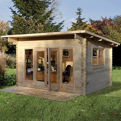 The Forest Melbury pent roof garden log cabin with office furniture inside