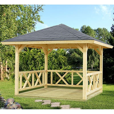 A pavilion-style, wooden gazebo, with a grey roof and ornate sides