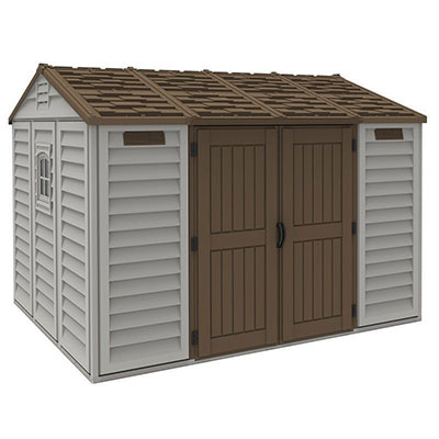 A grey plastic shed with a brown reverse-apex roof and brown double doors