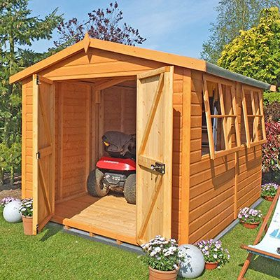 a 20x10 workshop shed with open double doors and 2 open windows
