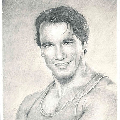 a head and shoulders drawing of Arnold Schwarzenegger