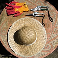 A straw hat, red and orange gardening gloves, and 2 pairs of secateurs.