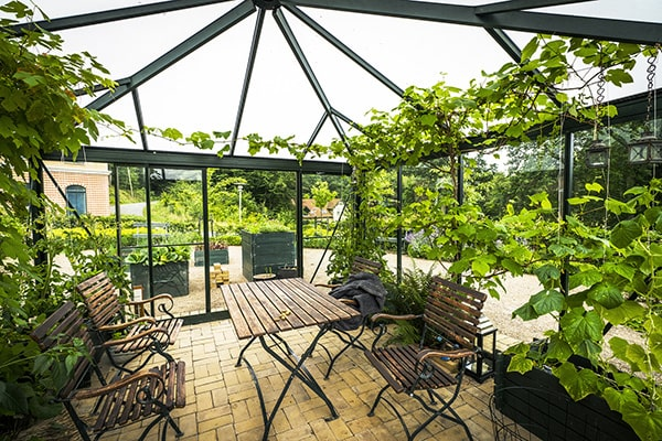 a glass orangery with plants and furniture