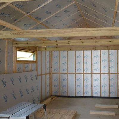 a partially-insulated shed interior