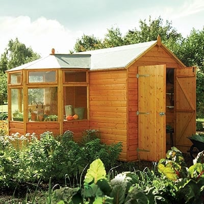 a corner potting shed with open double doors