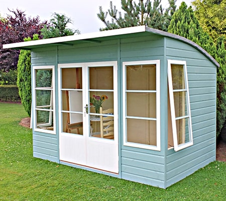 10x6 Shire Orchid Contemporary Wiooden Summerhouse with curved roof