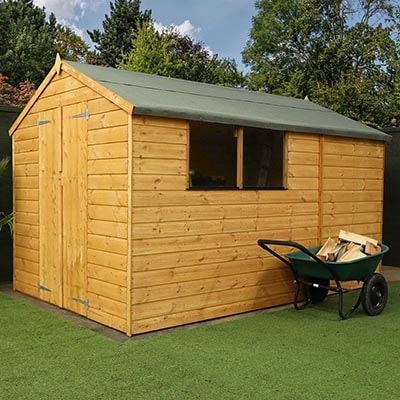 A 10x7 wooden shed with 12mm tongue and groove shiplap cladding