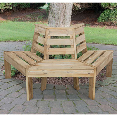 Wooden garden seating designed to fit around a tree trunk